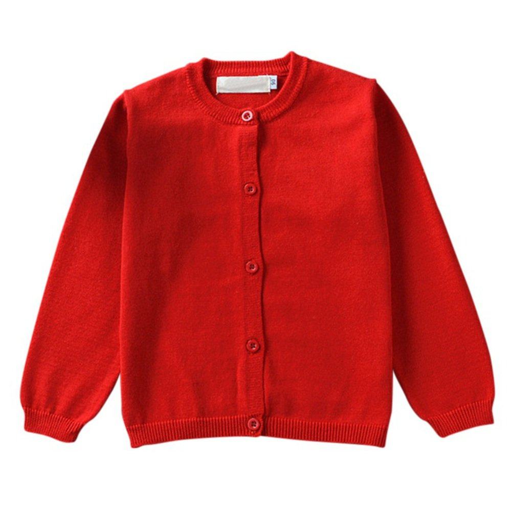 BOBORA 10Colours Unisex Children Kids Long Sleeve Cotton Knitted Plain Jersey Cardigans School Shirts for Age 1-5 Years BO-UK743
