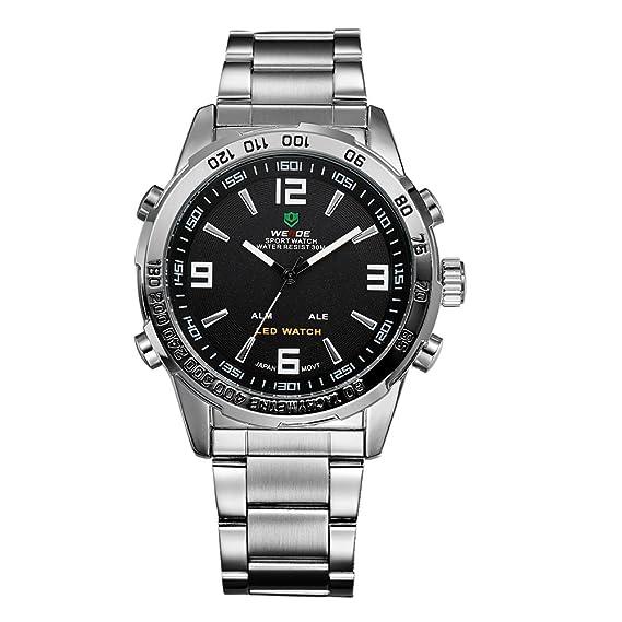 Weide Reloj digital de cuarzo 1009 y acero inoxidable, de estilo deportivo, con esfera negra: Amazon.es: Relojes