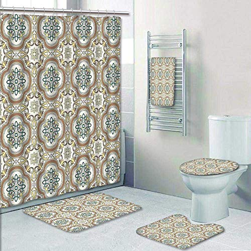 AmaPark 5-Piece Bath Set Hotel Collection with Bath Rug, Shower Curtain, and Bath Towel,Middle Eastern Islamic Chevron Pattern with Damask Effects Print Umber Yellow Cream Decorate The Bath by AmaPark
