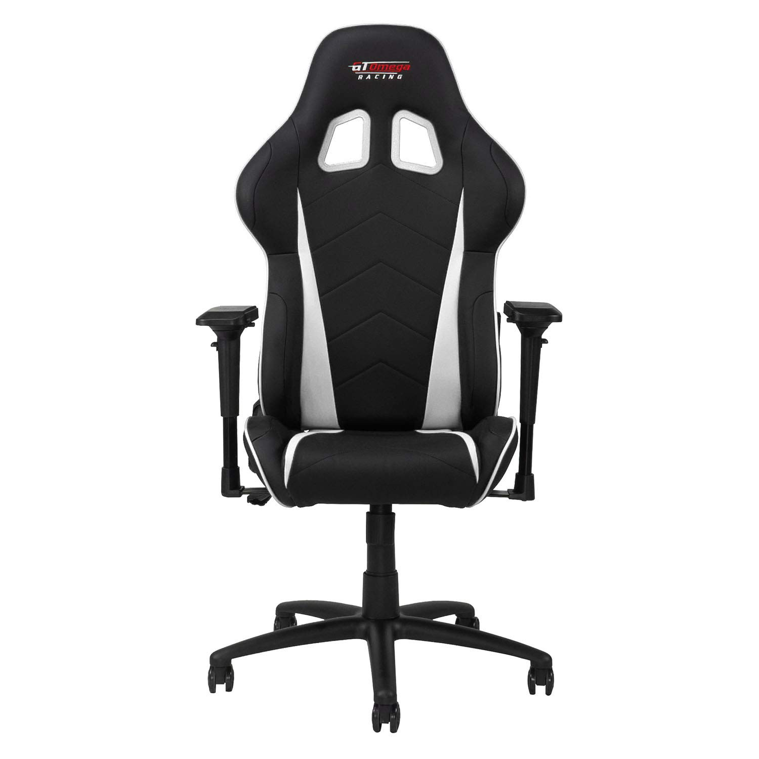 GT OMEGA PRO Racing Gaming Chair with Ergonomic Lumbar Support – PVC Leather Reclining High Back Home Office Chair with Swivel – PC Gaming Desk Chair for Ultimate Racing Experience – Black Next White