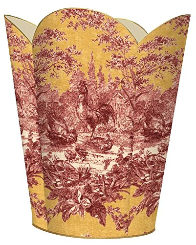 WB16-Red and Gold Rooster Toile Wastepaper Basket