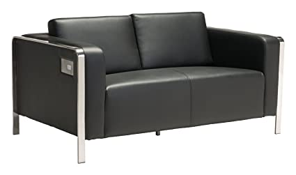 Charmant Modern Contemporary Urban Living Room Office Loveseat Sofa, Black, Faux  Leather