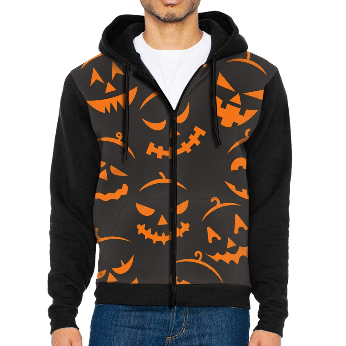 MHBGMYES Scary Halloween Lightweight Mans Jacket with Hood Long Sleeved Zippered Outwear