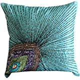 """Aqua Blue Pillow Covers, Peacock Feather Sequins and Beaded Sparkly Glitter Pillows Cover, Pillow Covers 18""""x18"""", Square Silk Pillows Covers Couch, Floral Art Deco Throw Pillows Cover - Peacock Grace"""