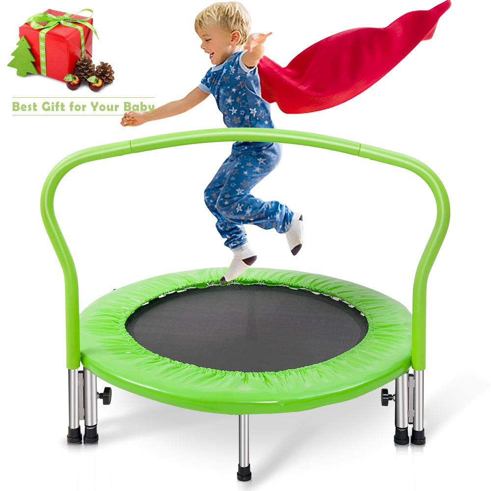 Merax 36'' Mini Trampoline for Kids Exercise Rebounder Portable Trampoline with Handrail and Padded Cover (Green) by Merax