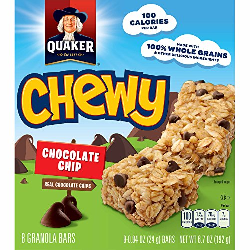 Quaker Chewy Granola Bars, Chocolate Chip, 24g.Bar/8 Bars Per Box (Pack of 6)