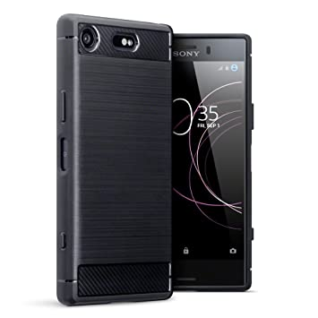 sale retailer 0c7b1 d4be2 TERRAPIN, Compatible with Sony Xperia XZ1 Compact Case, Carbon Fibre Design  Brushed Effect TPU Gel Cover - Black