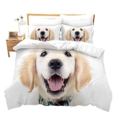 Feelyou Labrador Bedding Set Twin Size for Boys Girls Kids Teens Pet Animal Bed Cover Puppy Dog Comforter Cover with 1Pillow Shams Gift Decorative Bedspread Cover Soft Microfiber Zipper: Home & Kitchen