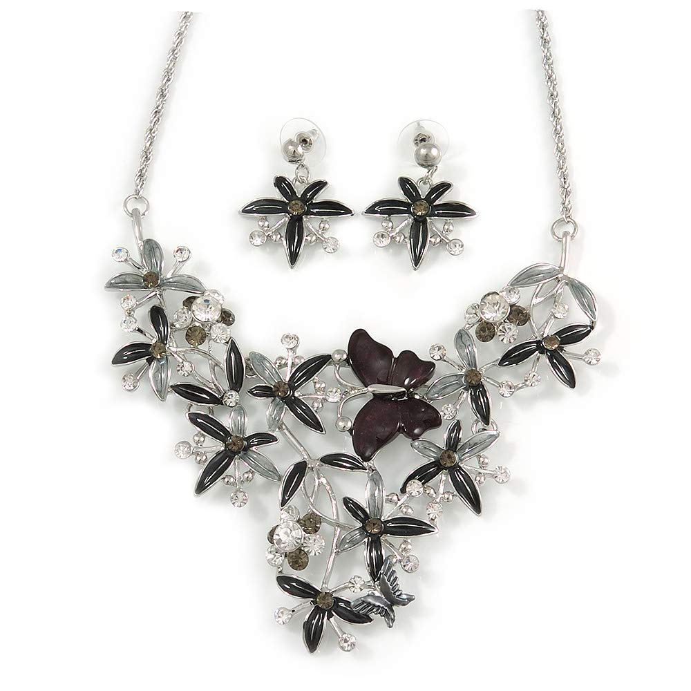 Black//Grey 40cm L// 8cm Ext Avalaya Romantic Enamel Flower and Butterfly Cluster Necklace and Stud Earrings Set in Rhodium Plating
