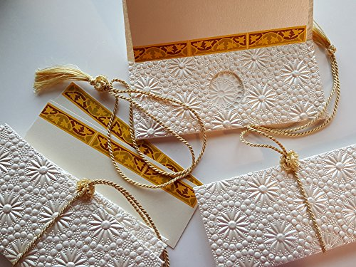 Money Envelopes (Premium) with a Insert Card and Silk Tassel for Cash Gift, Wedding Gifts, made from Embossed Metallic Paper, Daisy pattern - Box of 6 envelopes, insert cards and Tassels