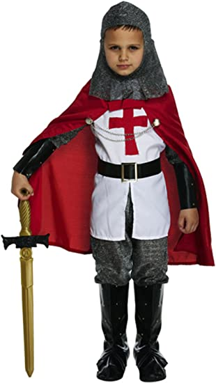Boys Knight Costume Kids Child Crusader St George Medieval English Book 4-12YRS