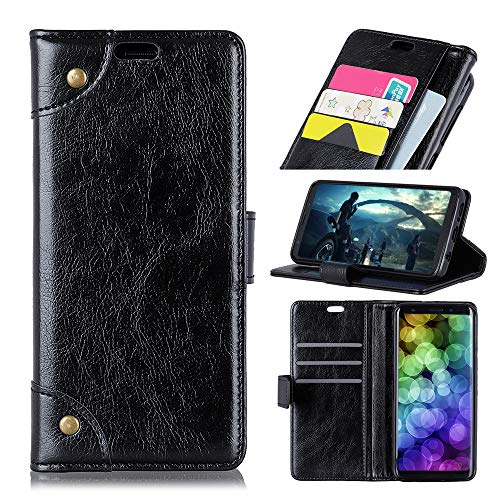 HikerClub LG G7 Fit Case [Napa Pattern Copper Buckle] Premium PU Leather Wallet Flip Case Soft TPU Shell Card Slot Cash Pocket Shockproof Protective Phone Case Cover for LG G7 Fit (Black)