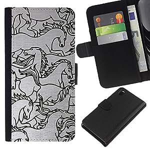Stuss Case / Funda Carcasa PU de Cuero - Sketch Negro blanco del arte - Sony Xperia Z3 D6603