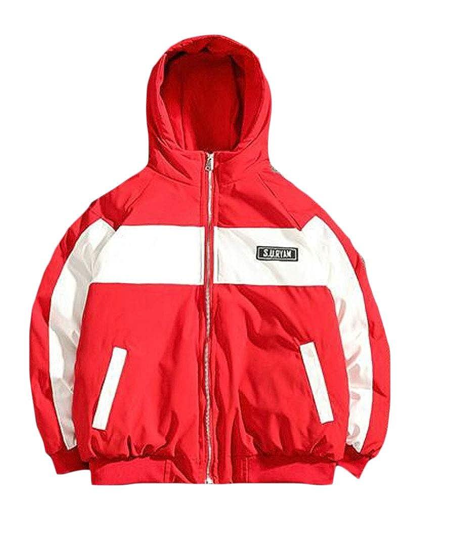 Jofemuho Men Thermal Letters Printed Plus Size Contrast Hoodie Down Coat Jacket Overcoat
