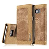 For S6 Case Business Style Premium Jeans Denim Splice Hit Color PU Leather Flip Case Hard PC Back Cover With Magnetic Stand Wallet Card slots and Photo Pocket Case Cover-Brown
