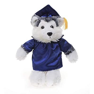 Plushland Husky Plush Stuffed Animal Toys with Box Present Gifts for Graduation Day, Personalized Text, Name or Your School Logo on Gown, Best for Any Grad School Kids (Navy Cap and Gown): Toys & Games