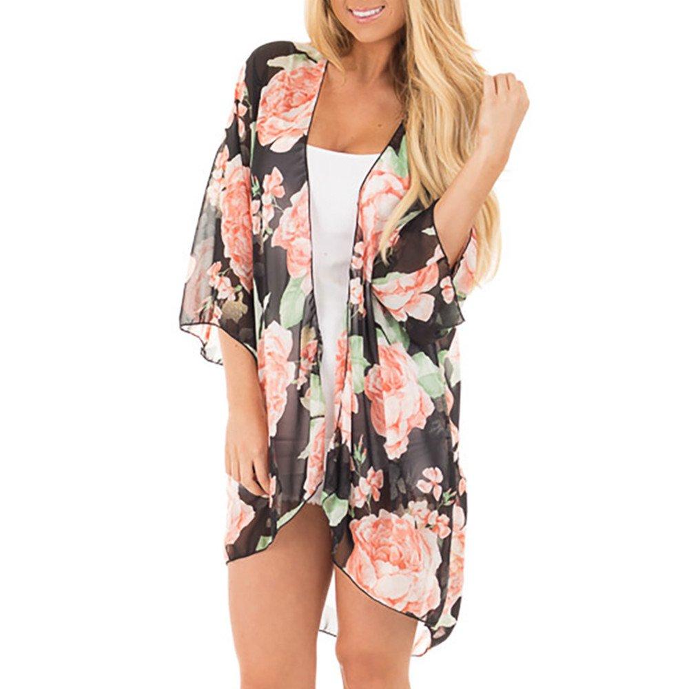 Women's Swimsuit Floral Chiffon Kimono Cardigans Beach Cover Up Plus Size Bathing Suit Wrap Cover Ups(Black,M)