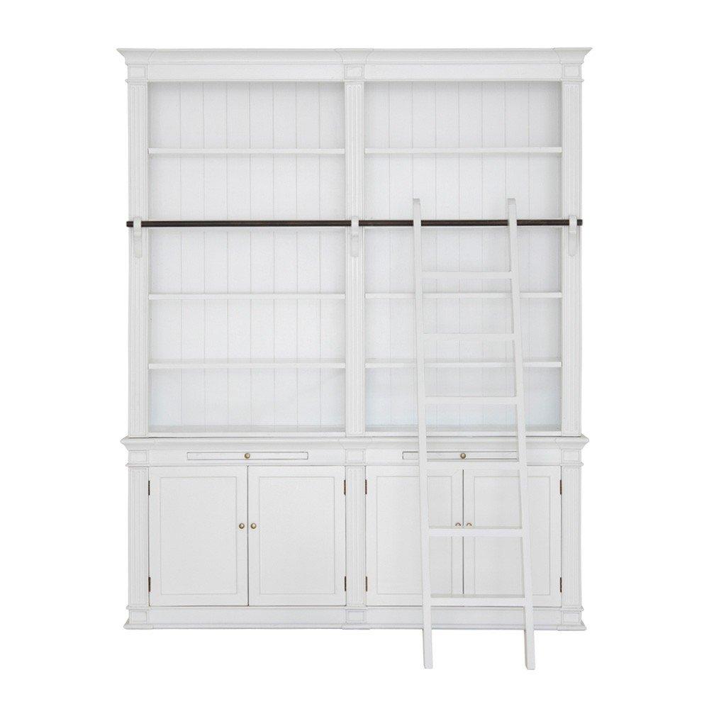 Bücherwand Chat, teilmontiert, Erle massiv, weiß lackiert, 10 Fächer, 4 Türen, 2 Auszüge