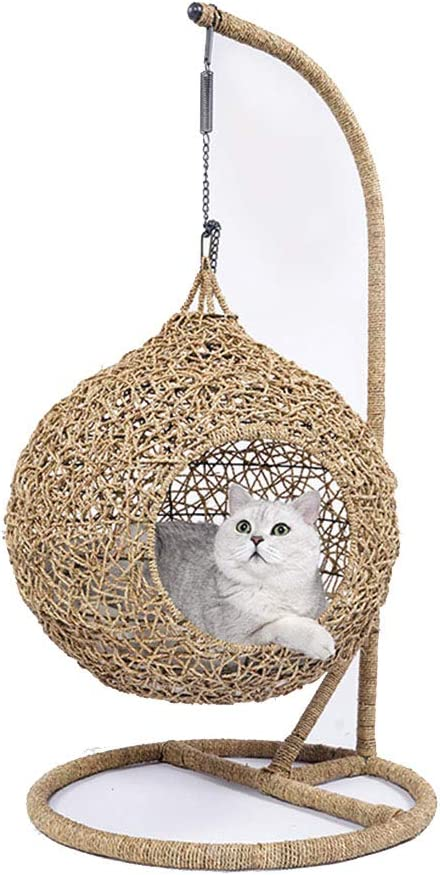 DCRYWRX Cesto De Mimbre para Gatos, Cesto Cama De Torre De Gato, Cesto De Hamacas para Gatitos, Casa para Mascotas con Almohadilla De Algodón,L: Amazon.es: Hogar