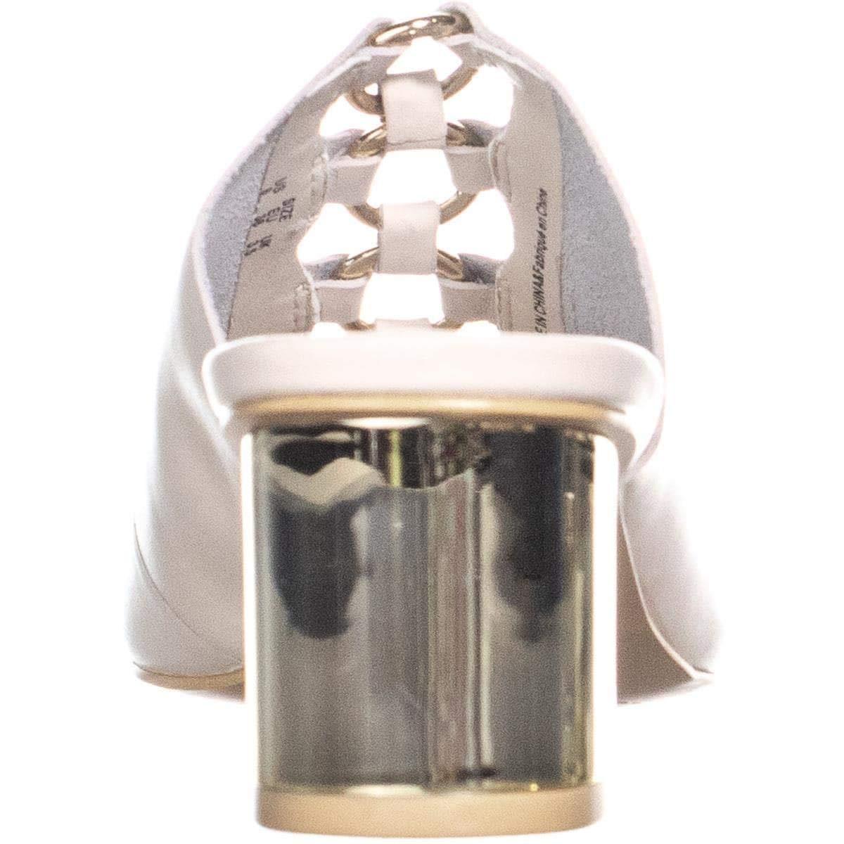 DKNY Womens Greyson Leather Peep Toe Mules Stone Size 8.5