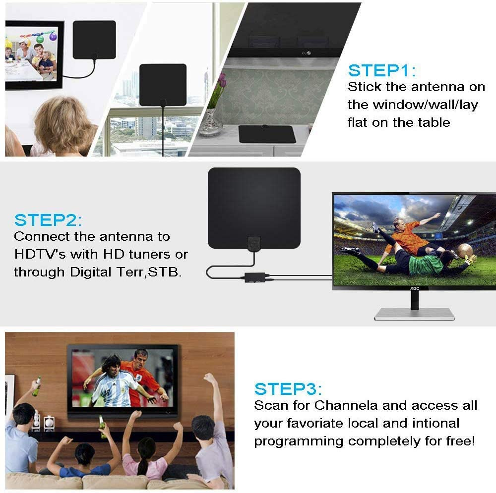 16.5ft Coax Cable Emoly HDTV Antenna 2020 New Indoor Digital TV Antenna 130 Miles Range with Amplifier Signal Booster 4K 1080P HD VHF UHF Freeview for Life Local Channels Support All Television