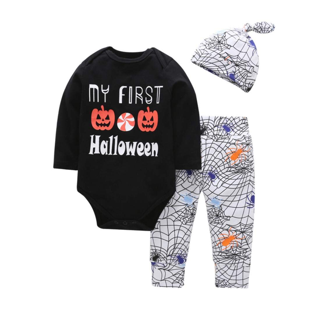 My First Halloween Costumes Outfit,Newborn Toddler Infant Baby Girl Boy Pumpkin Romper Pants Hat,Long Sleeve Clothes Winter Gifts (3-6 Months, Black) Goodtrade8®