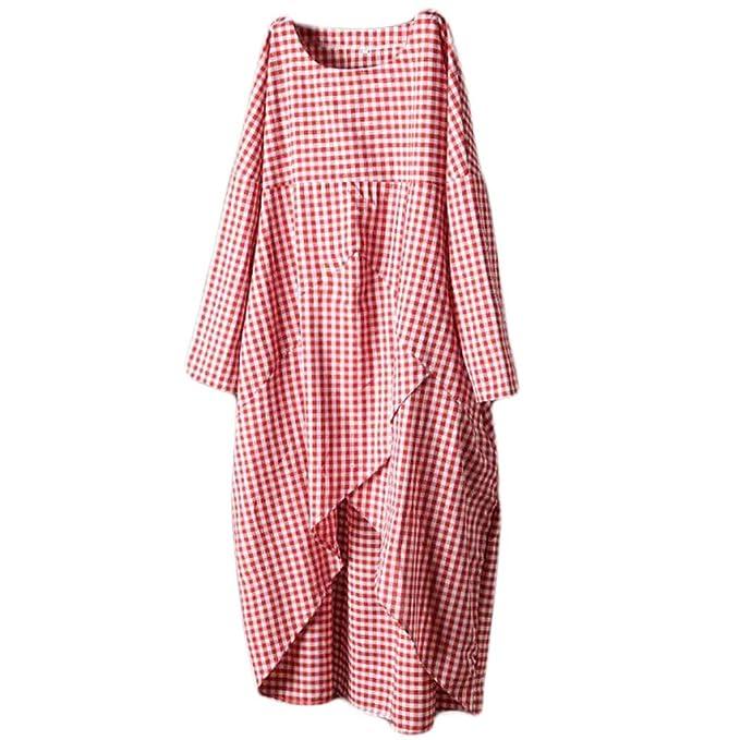 Amazon.com: Kulywon - Vestido de algodón y lino para mujer ...