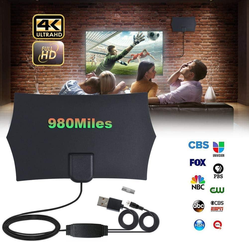 Vaorwne 980 Milles LAntenne de GammeTV Num/éRique Antena Num/éRique HD 4K HDTV DInt/éRieur 1080P avec Un Amplificateur Signal Booster TV