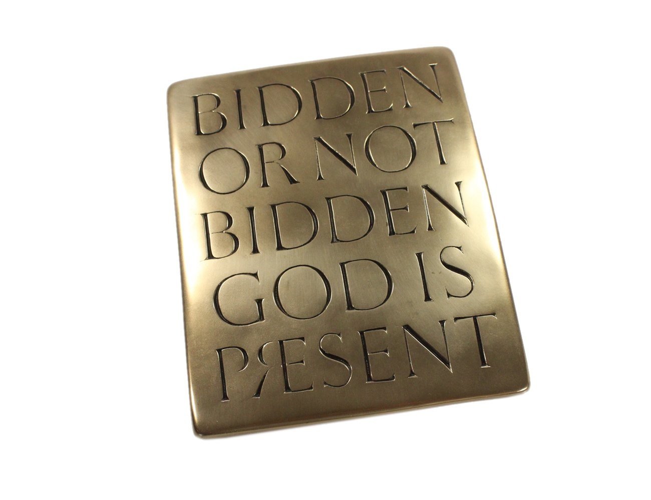 Wild Goose Studio Bidden or Not Bidden God is Present Irish Plaque Resin Casting Bronze Coated 8 1/4 Inches Tall by 6 3/4 Inches Wide Ready To Hang Made in Ireland