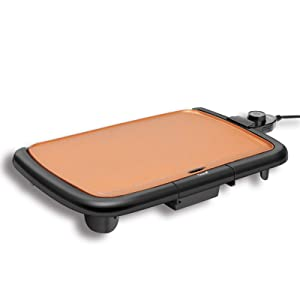 "Caynel Professional Electric Griddle, Cool-Touch Griddle, Smoke-less Non-Stick Coating with Removable Drip Tray and Cool-touch Handles, Compact Storage, Upgrade Thermostat for Indoor/Outdoor, Fully immersible Easy Cleaning, 16""x10"" Family-Sized, Copper"