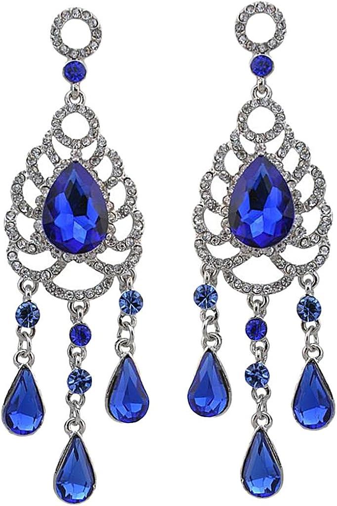 non-brand Sharplace Joyería Pendiente Zarcillos de Piedra Preciosa, Forma de Gota de Diamantes de Imitación, 4 Colores Selecccionables
