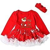 Koly Robe tutu Princesse costume deguisement de Noël enfant bebe fille Nouveau-né enfantin 2017 mon premier Noël + 1PC Bandeaux