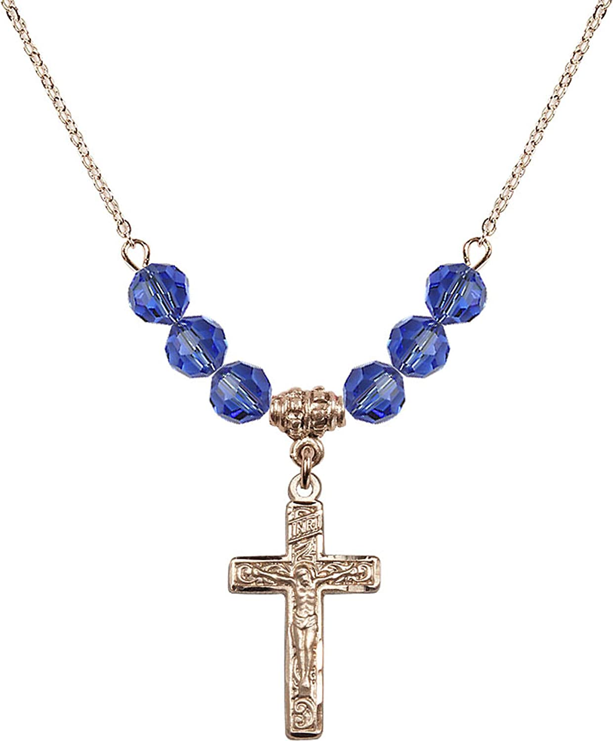 Bonyak Jewelry 18 Inch Hamilton Gold Plated Necklace w// 6mm Blue September Birth Month Stone Beads and Crucifix Charm