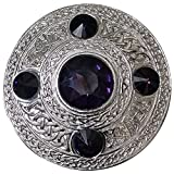 AAR Men's Celtic Kilt Fly Plaid Brooch Purple 5 Stones Silver 4''/ Scottish/Highland