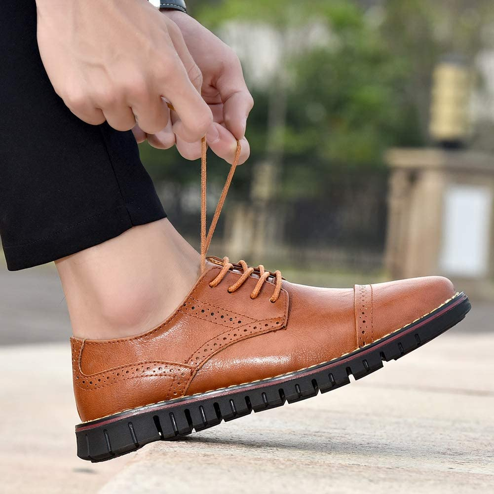 Moodeng Men`s Brogues Oxford Genuine Leather Dress Shoes Wingtip Formal Loafers Lace-up Casual Business Shoes