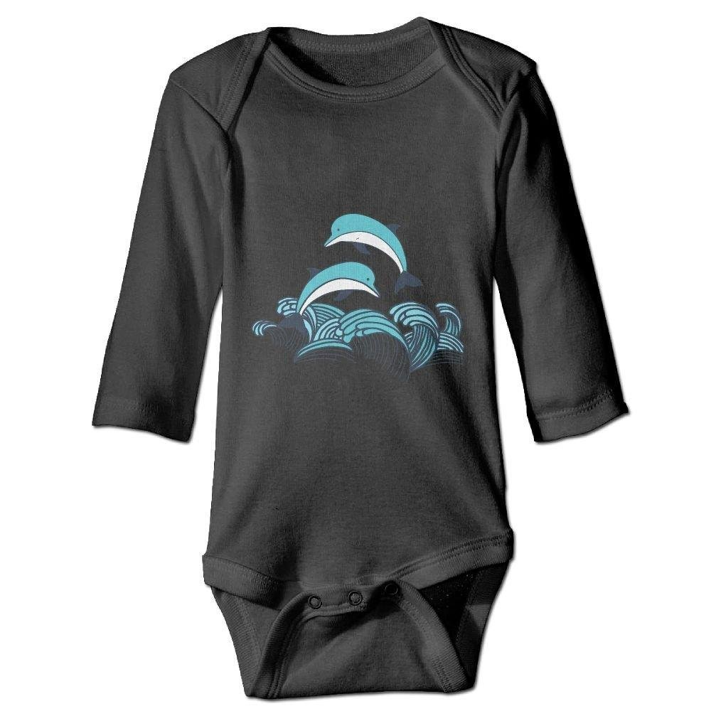 braeccesuit Baby Swimming Dolphin Long Sleeve Romper Onesie Bodysuit Jumpsuit