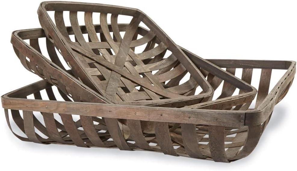 Mud Pie Set of 3 Tobacco Baskets, One Size, Brown