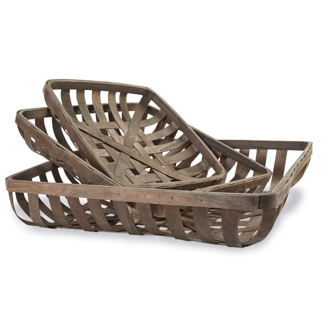 Mud Pie Set of 3 Tobacco Baskets, One Size, Brown by Mud Pie