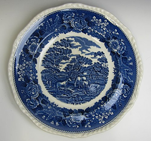 - Adams China ENGLISH SCENIC BLUE SCALLOPED Dinner Plate(s) EXCELLENT