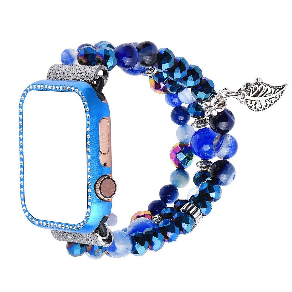 HHoo 38mm Replacement Crystal Bracelet Strap + Metal Frame Suitable for Apple Watch Series 4, New Design Concept, Different Style Agate Watch Band for Girl Female