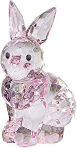 Crystal Expressions Sitting Bunny Rabbit Home Decor Multi-Faceted Pink Clear Acrylic Tiny Figurine for Your Kitchen Table, Window Sill, or Shelf(Pink)