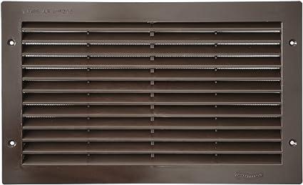 La Ventilazione PR3713N Grille de ventilation rectangulaire en plastique noir /à encastrer avec filet anti-insectes Dimensions 370 x 130 mm
