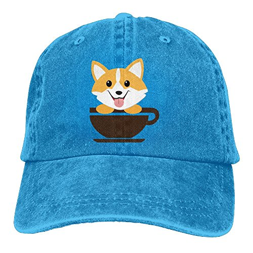 Hhil Swater Unisex Corgi Dog Coffee Paw Teacups Adjustable Denim Baseball Caps Cowboy Peaked Hats