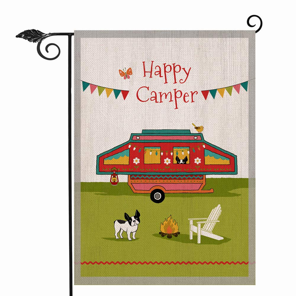 Hzppyz Happy Camper Garden Flag Double Sided, Summer Camping Trailer Decorative House Yard Lawn Outdoor Small Burlap Flag, Spring Campsite Puppy Dog Decor Sign Seasonal Home Outside Decorations 12x18