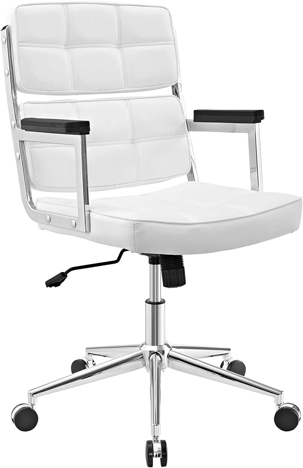 Modway Portray High Back Faux Leather Modern Office Chair In White