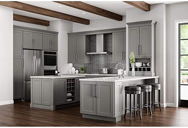 Hampton Bay Shaker Ready To Assemble 36x34 5x24 In Corner Sink Base Kitchen Cabinet In Dove Gray Kitchen Dining