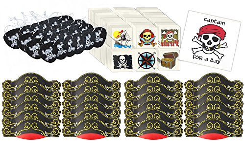Pirate Party Supplies Including 24 Hats, 24 Felt Eye Patches, 144 Kids Temporary Tattoos, and 1 Captain For A Day Sticker by Well Pack -