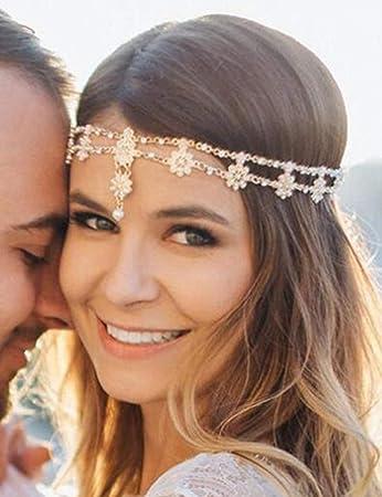 Rhinestone Bridal Hair Chain Bohemian Style Wedding Crystal Bride Hair Headband
