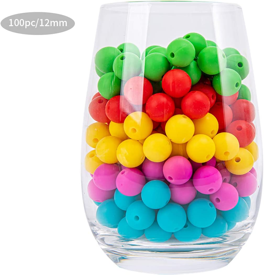 Silicone Beads for 12mm 100pc Jewelry Beads Food Grade BPA Free Chewing Beads for Nursing Necklaces