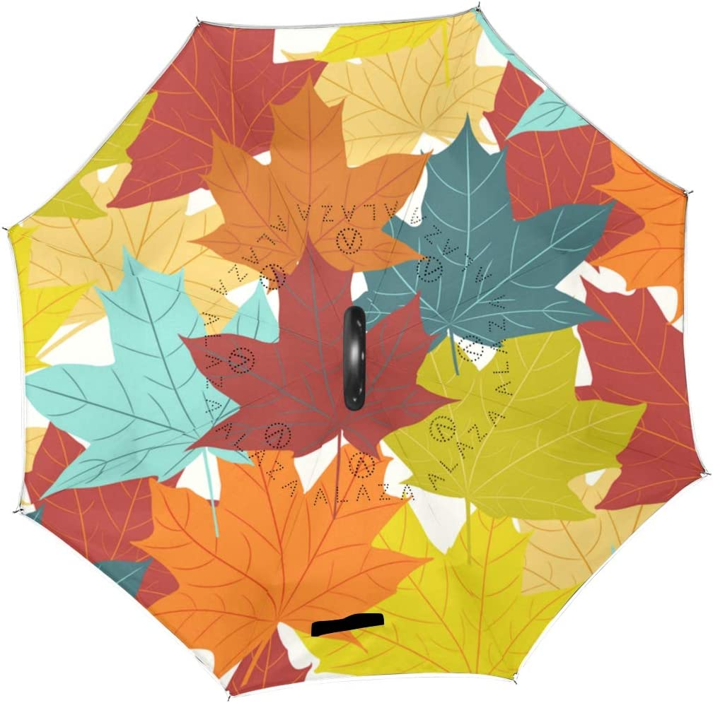 Vintage Floral Autumn Pattern With Maple Leaves Double Layer Windproof UV Protection Reverse Umbrella With C-Shaped Handle Upside-Down Inverted Umbrella For Car Rain Outdoor